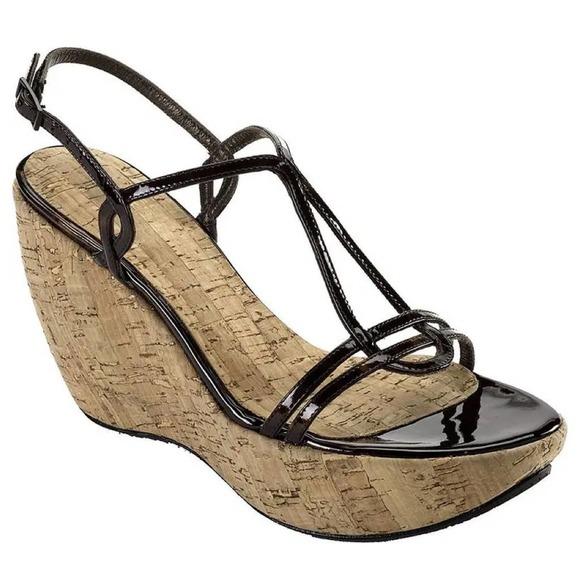 Stuart Weitzman 'Esteem' Patent Wedge Sandal, 7.5